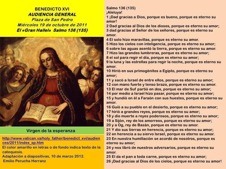BENEDICTO XVI                             Salmo 136 (135)                                                            ¡Alel...