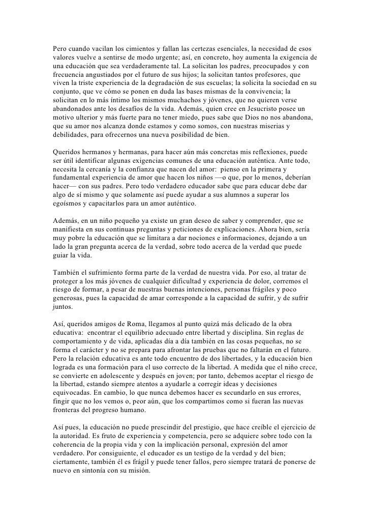 Benedicto xvi sobre la tarea urgente de la educacion Slide 2