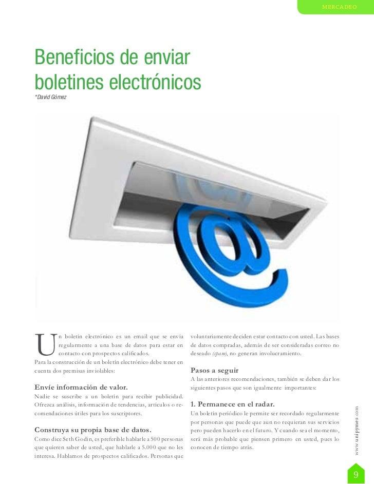 mercadeoBeneficios de enviarboletines electrónicos*David GómezU          n boletín electrónico es un email que se envía   ...