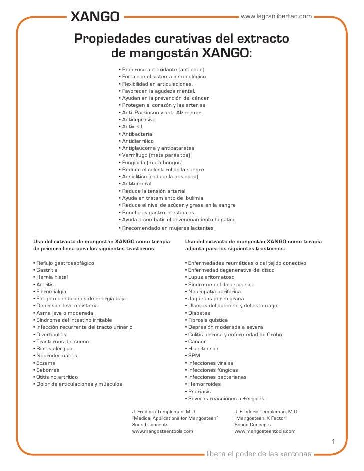 XANGO                      www.lagranlibertad.com                  Propiedades curativas del extracto                     ...