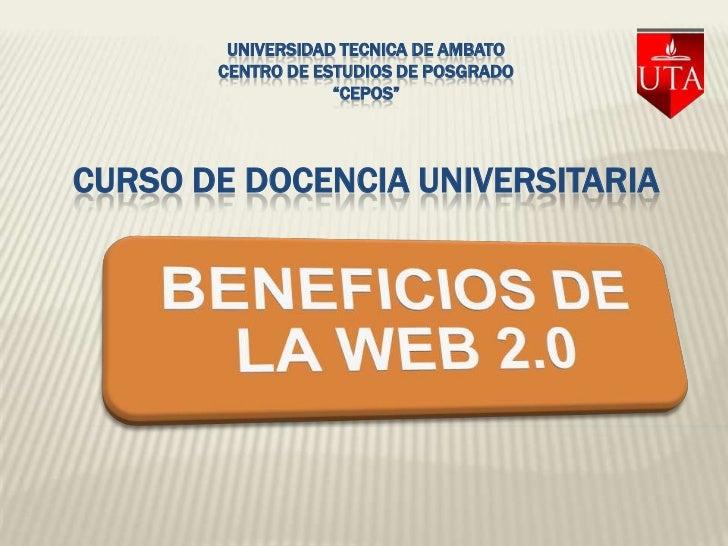 """UNIVERSIDAD TECNICA DE AMBATO       CENTRO DE ESTUDIOS DE POSGRADO                   """"CEPOS""""CURSO DE DOCENCIA UNIVERSITARIA"""