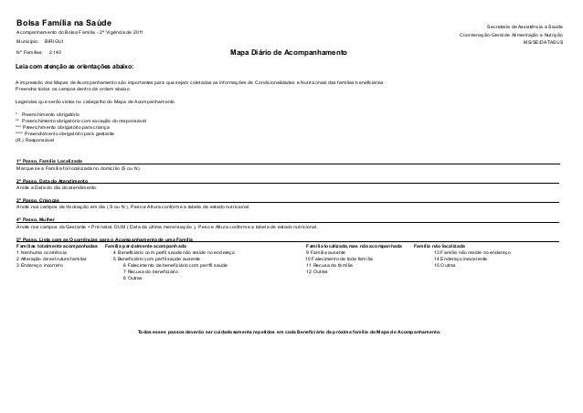 Bolsa Família na Saúde Acompanhamento do Bolsa Família - 2ª Vigência de 2011 Município: Secretaria de Assistência a Saúde ...