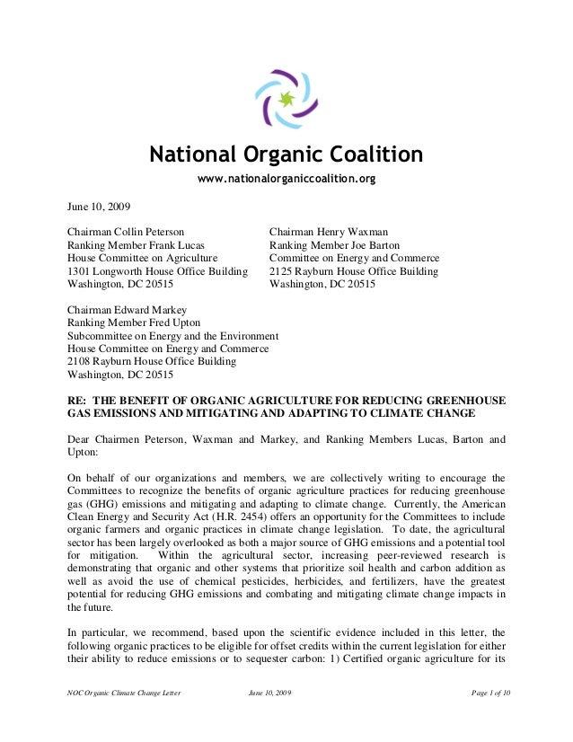 NOC Organic Climate Change Letter June 10, 2009 Page 1 of 10National Organic Coalitionwww.nationalorganiccoalition.orgJune...