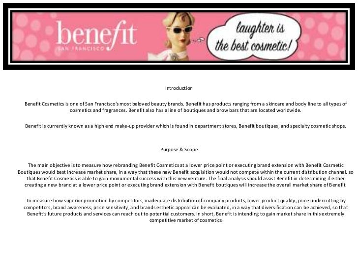 Benefit cosmetics sample market research project for Cover letter for benefit cosmetics