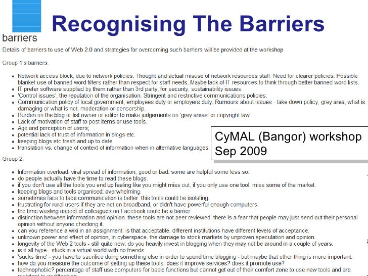 Recognising The Barriers CyMAL (Newport) workshop Sep 2009 Concerns identified in discussion group sessions at various UKO...