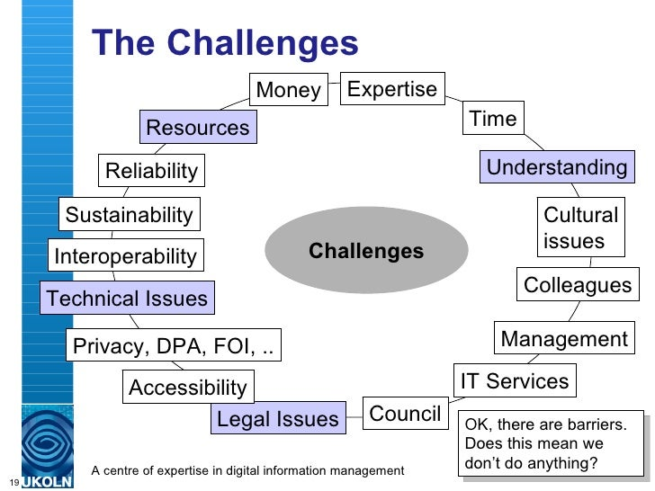 The Challenges Challenges Resources Expertise Time Money Understanding Legal Issues IT Services Colleagues Management Acce...