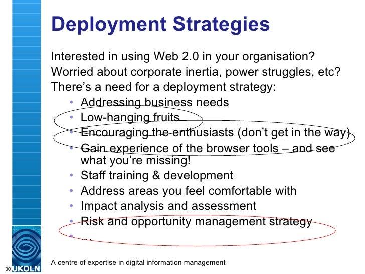 Deployment Strategies <ul><li>Interested in using Web 2.0 in your organisation? </li></ul><ul><li>Worried about corporate ...