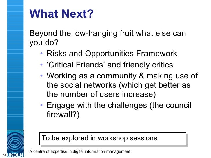 What Next? <ul><li>Beyond the low-hanging fruit what else can you do? </li></ul><ul><ul><li>Risks and Opportunities Framew...