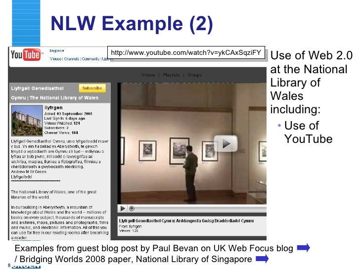 NLW Example (2) <ul><li>Use of Web 2.0 at the National Library of Wales including: </li></ul><ul><ul><li>Use of YouTube  <...