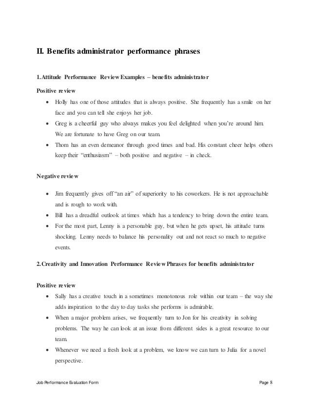 job performance evaluation form page 8 ii benefits administrator - Job Description For Benefits Administrator
