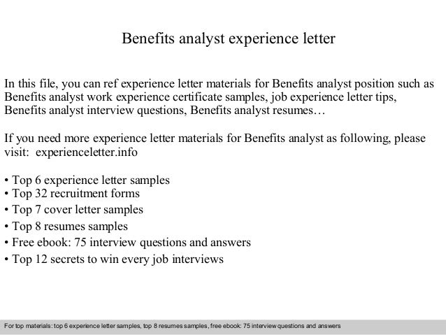 Benefits analyst experience letter