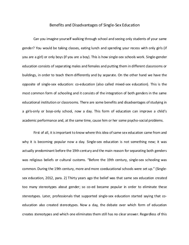 Essay on sex education thesis statement