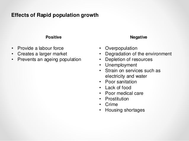effects of rapid population growth The existing state of knowledge does not warrant any clear-cut generalization as to the effect of population growth on economic development in today's less.
