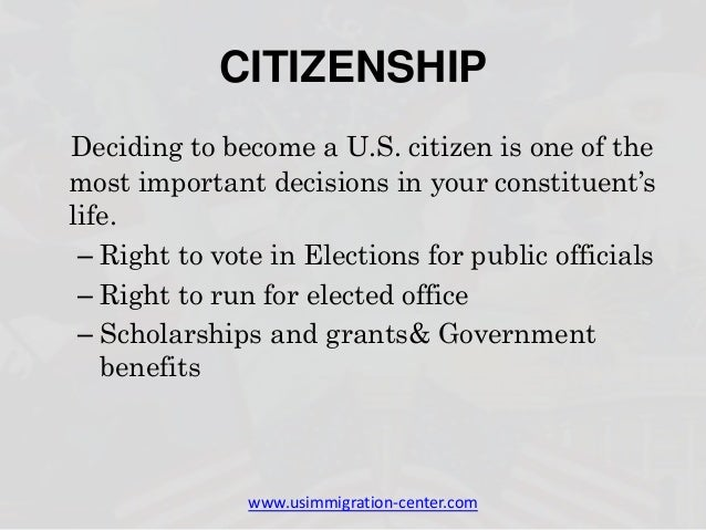 Benefits and rights of us immigration