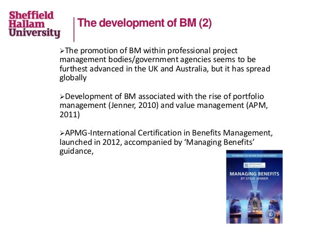 The development of BM (2) The promotion of BM within professional project management bodies/government agencies seems to ...