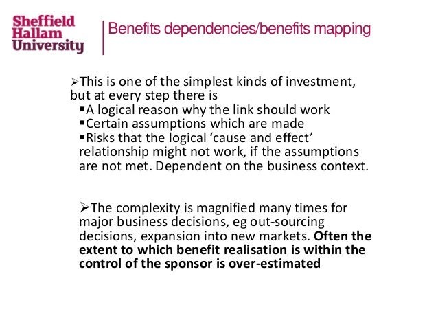 Benefits dependencies/benefits mapping This is one of the simplest kinds of investment, but at every step there is A log...