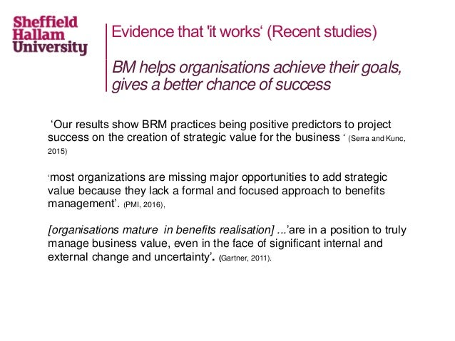Evidence that 'it works' (Recent studies) 'Our results show BRM practices being positive predictors to project success on ...