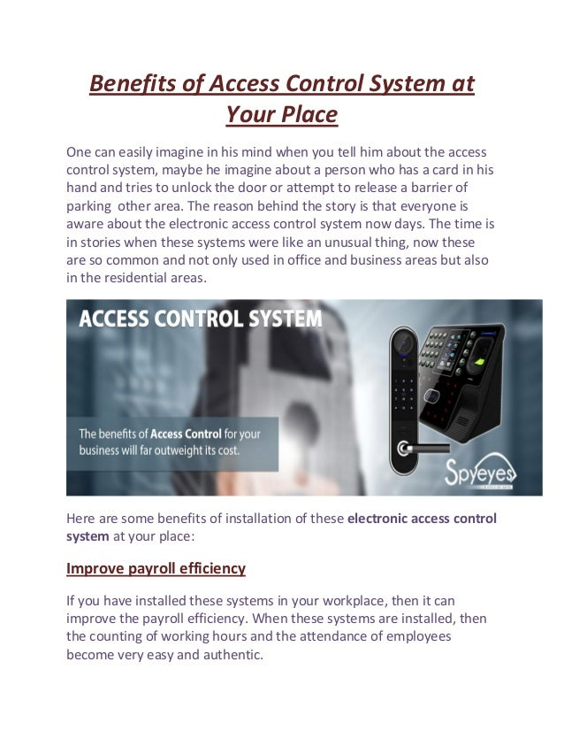 benefits of access control system at your place