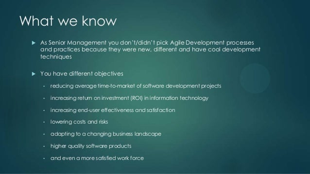 Benefits Of Agile Software Development For Senior Management