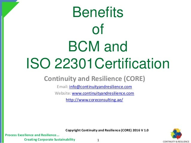 Benefits Of Bcm And Iso 22301 Certification Core Consulting