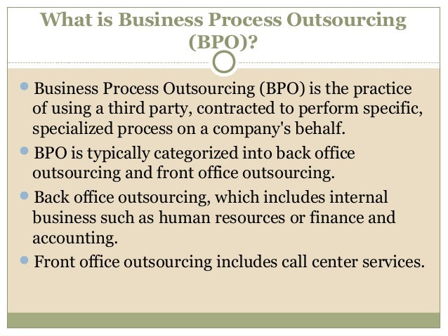 Business Process Optimization and Outsourcing (BPO) Advisory