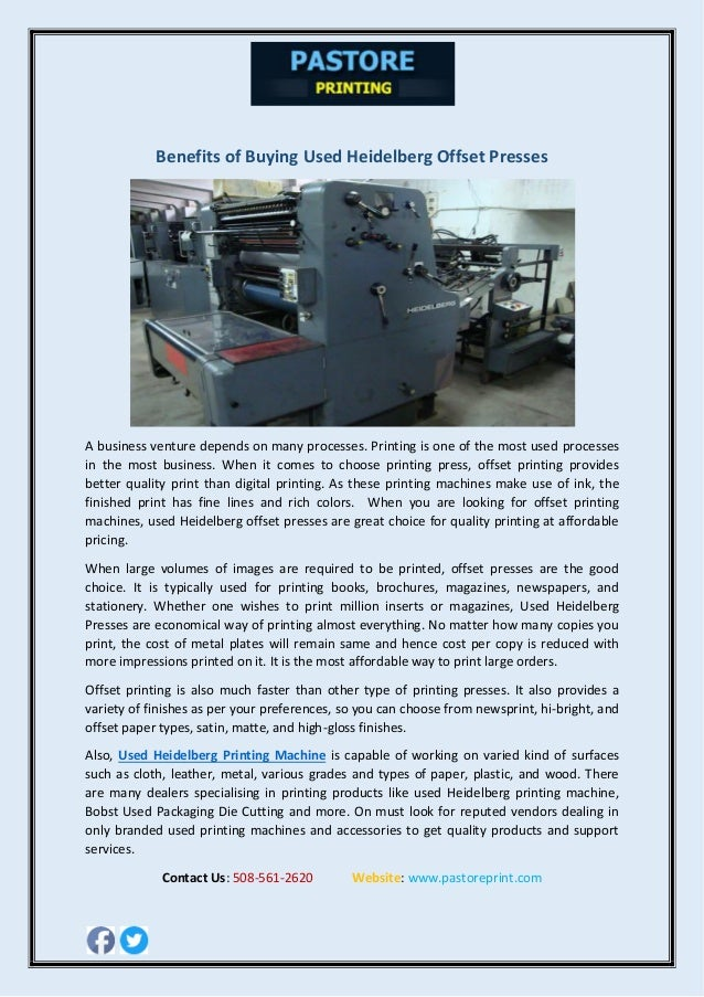 Benefits of Buying Used Heidelberg Offset Presses