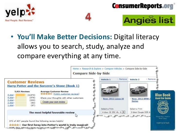• You'll Make Better Decisions: Digital literacy  allows you to search, study, analyze and  compare everything at any time.