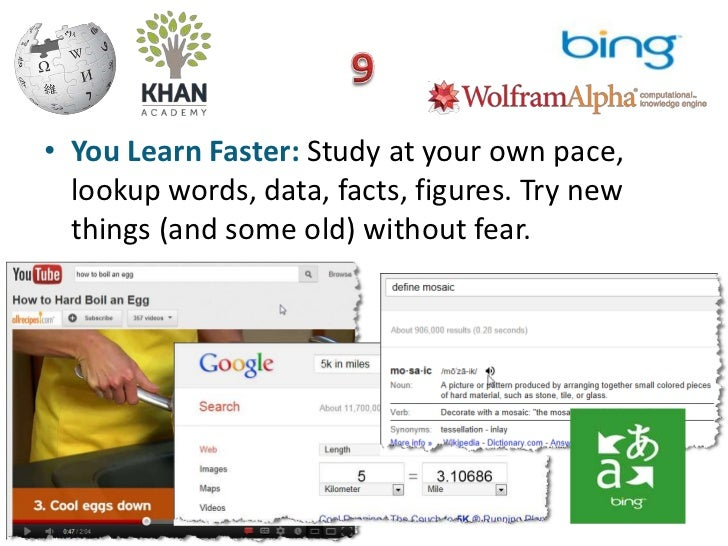 • You Learn Faster: Study at your own pace,  lookup words, data, facts, figures. Try new  things (and some old) without fe...