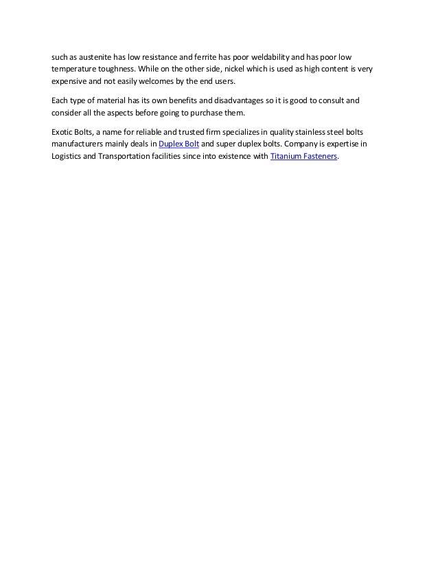 Benefits of duplex stainless steel fasteners