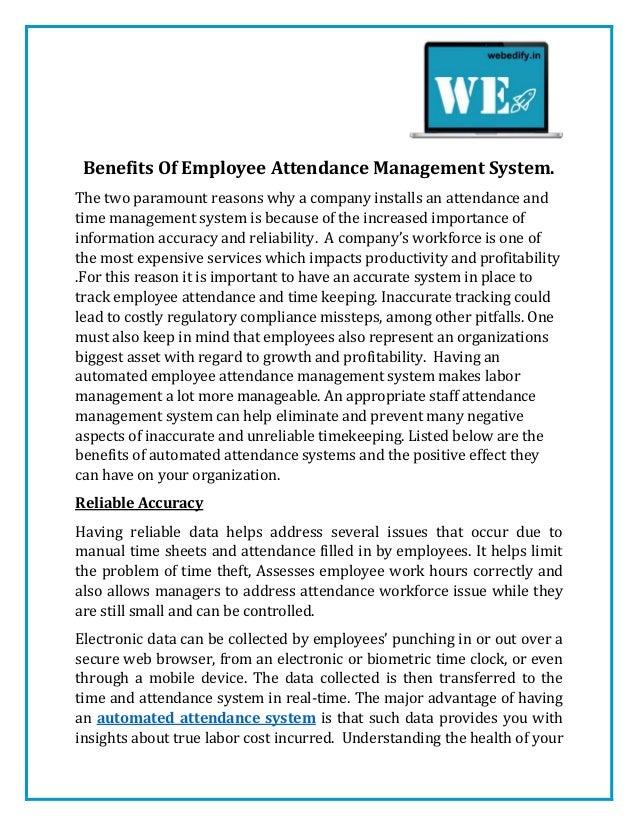 benefits of employee attendance management system