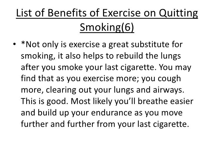 Benefits of exercise on quitting smoking