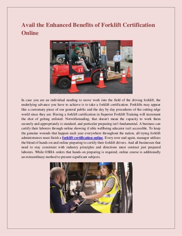 Benefits Of Forklift Certification Online