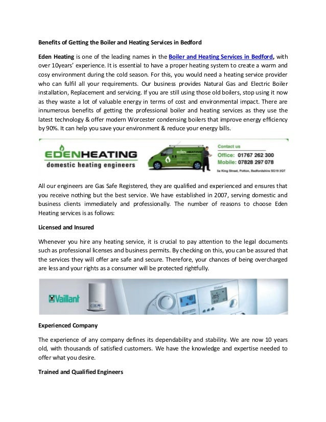 Benefits of getting the boiler and heating services in bedford