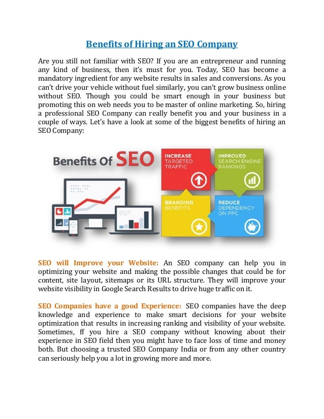 Benefits of Hiring an SEO Company Are you still not familiar with SEO? If you are an entrepreneur and running any kind of ...
