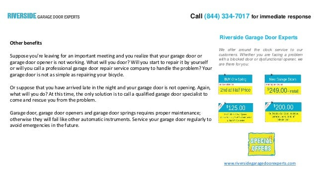 Benefits Of Hiring Garage Door Repair Expert In Riverside California