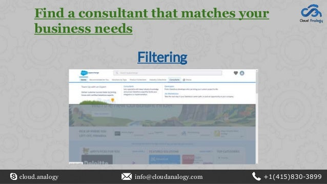 Find a consultant that matches your business needs Filtering cloud.analogy info@cloudanalogy.com +1(415)830-3899