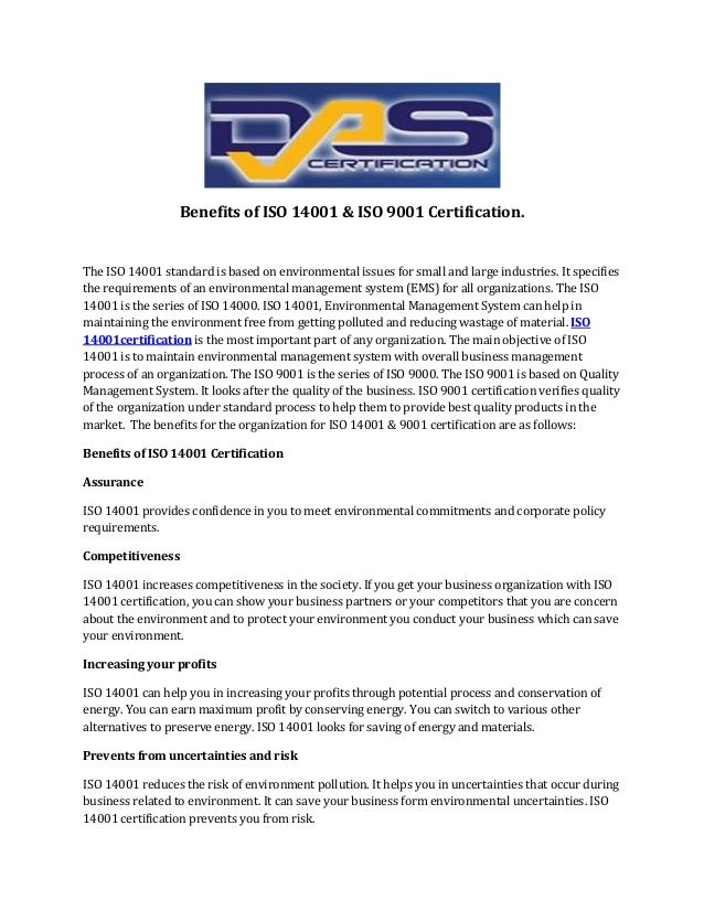 Benefits of iso 14001 & iso 9001 certification.