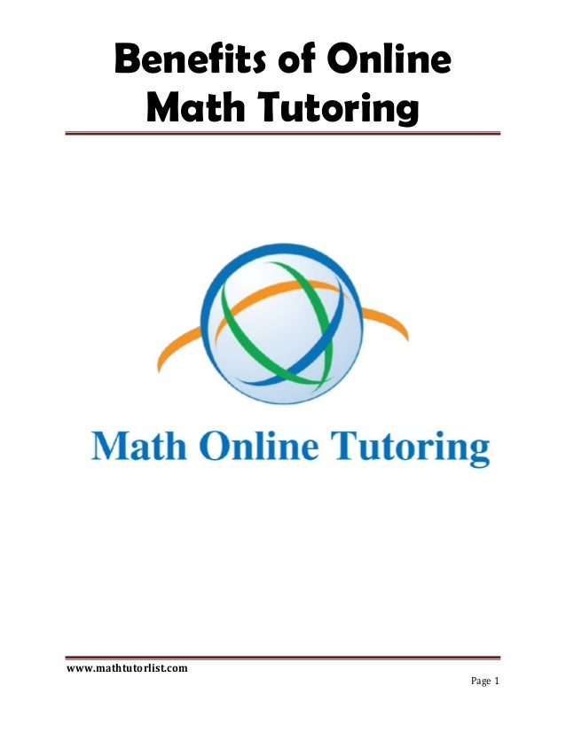 Benefits of online math tutoring