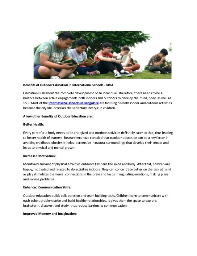 what are the benefits of outdoor education