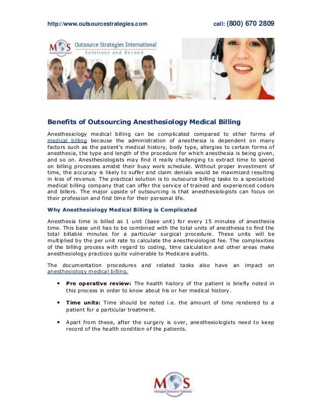 http://www.outsourcestrategies.com call:(800)6702809 Benefits of Outsourcing Anesthesiology Medical Billing Anesthesiol...