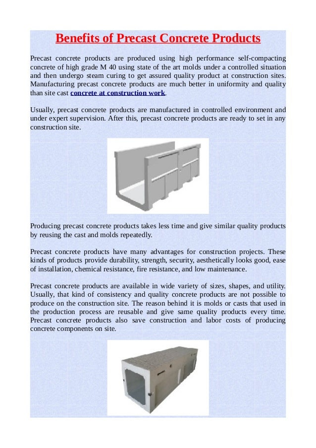 Benefits of precast concrete products