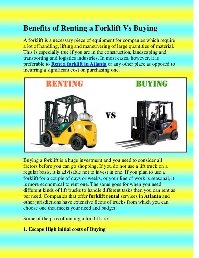 Benefits Of Renting A Forklift Vs Buying