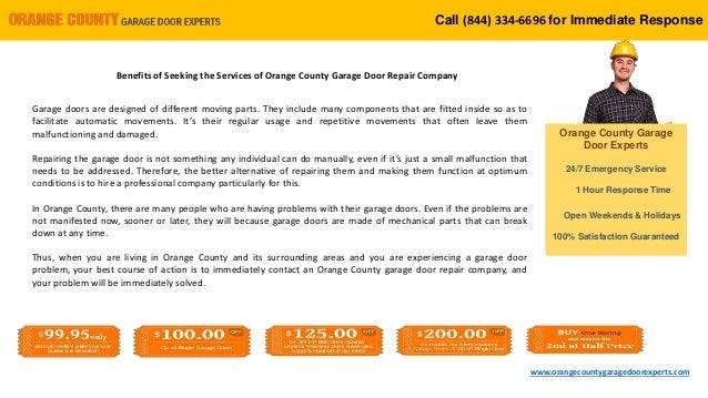 Benefits Of Seeking The Services Of Orange County Garage Door Repair
