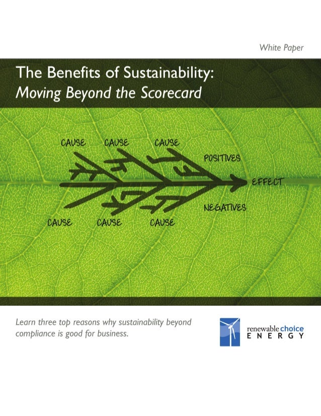 White Paper: The Benefits of Sustainability: Moving Beyond the Scorecard  THE BENEFITS OF SUSTAINABILITY Increasing number...