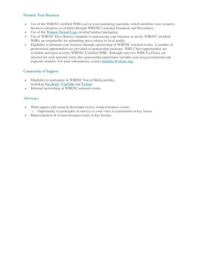 Benefits of wbenc certification