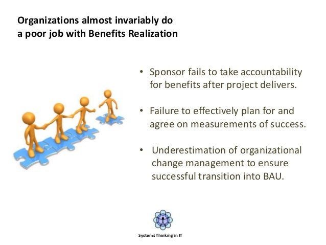 • Sponsor fails to take accountability for benefits after project delivers. • Failure to effectively plan for and agree on...