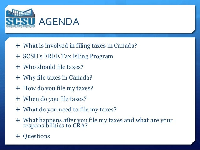 Benefits session presentation 2013 for website 4 agenda what is involved in filing taxes in canada ccuart Image collections