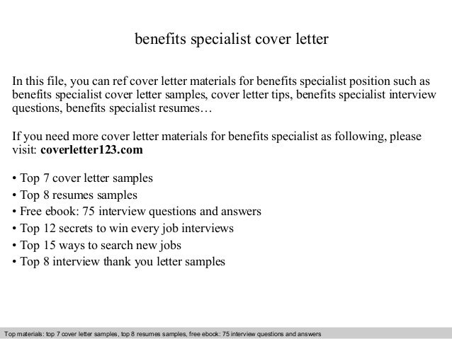 Benefits specialist cover letter