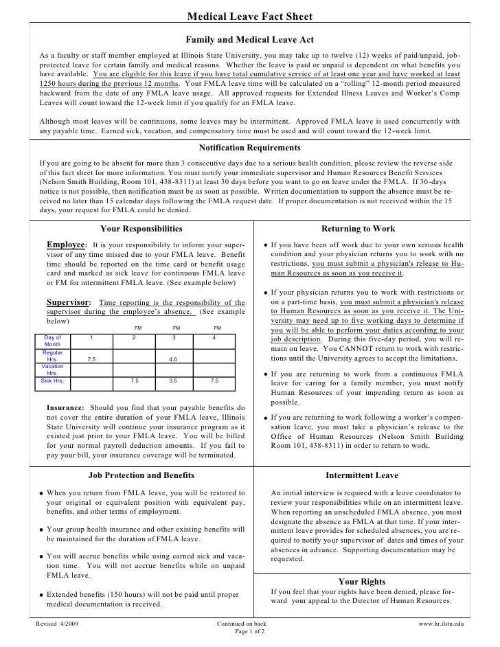 Medical Leave Fact Sheet                                               Family and Medical Leave Act As a faculty or staff ...