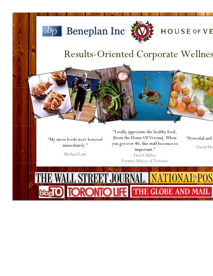 """Results-Oriented Corporate Wellness                                  """"I really appreciate the healthy food,""""My stress leve..."""